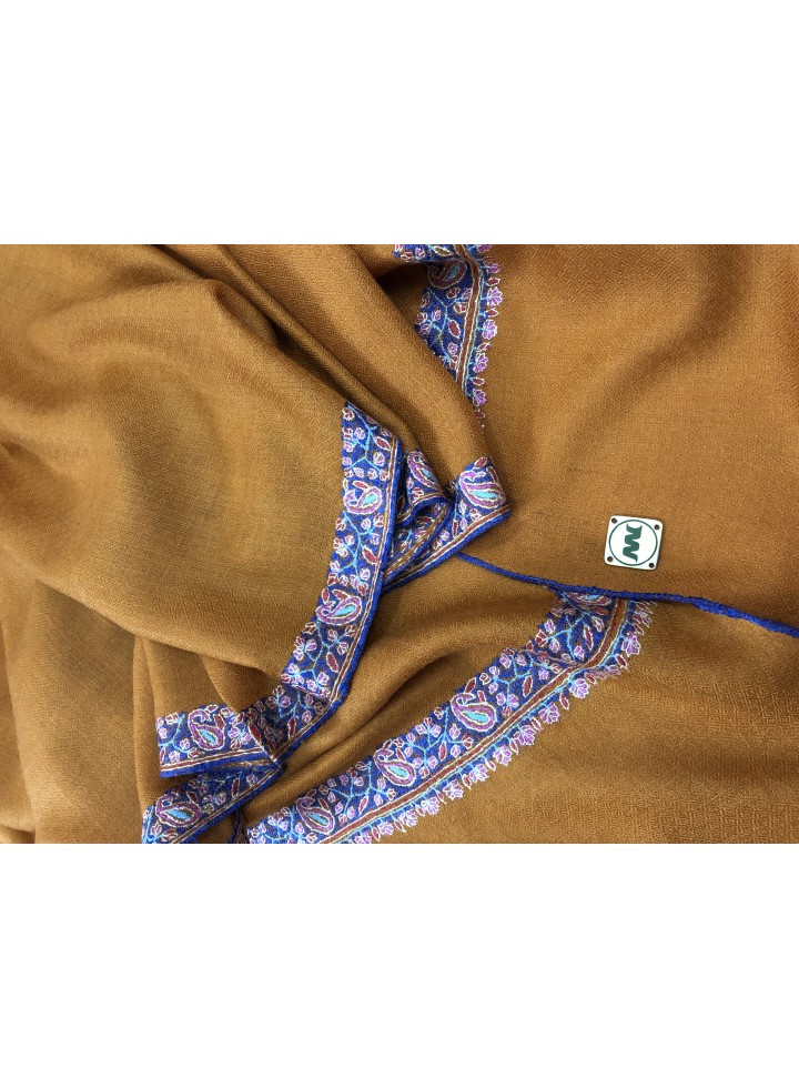 Pashmina Honey Ginger Border Embroidery Stole
