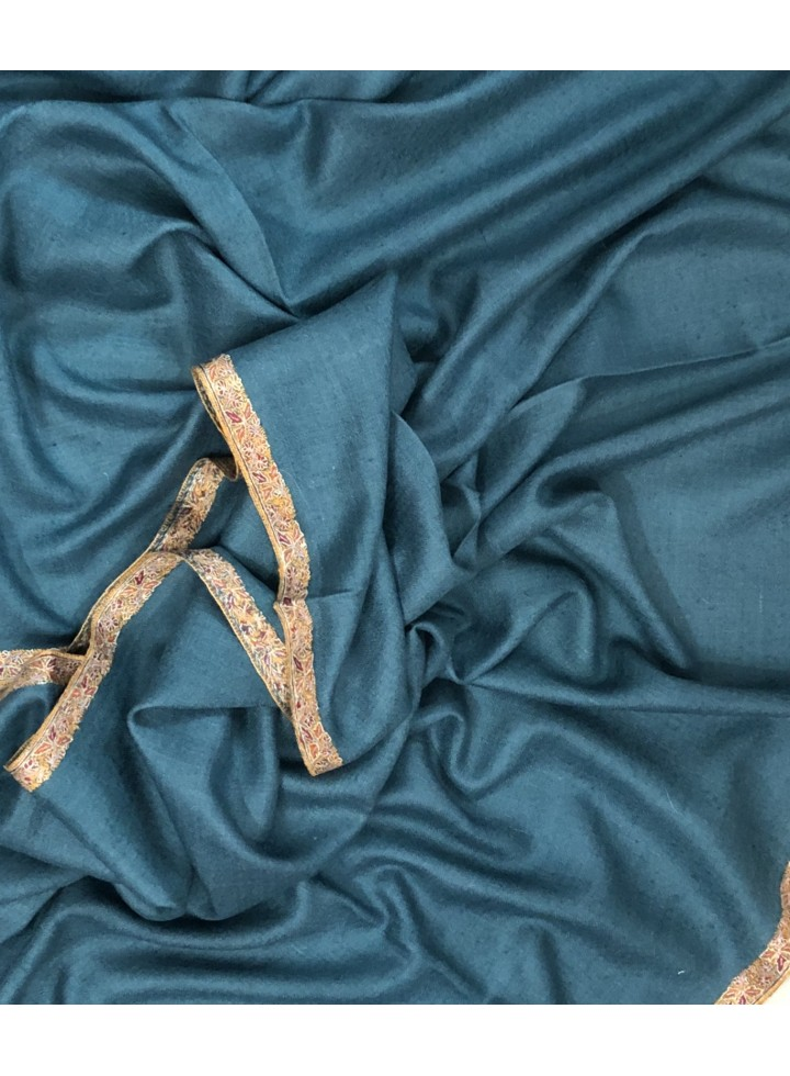 Pashmina Mallard Blue Border Embroidery Stole