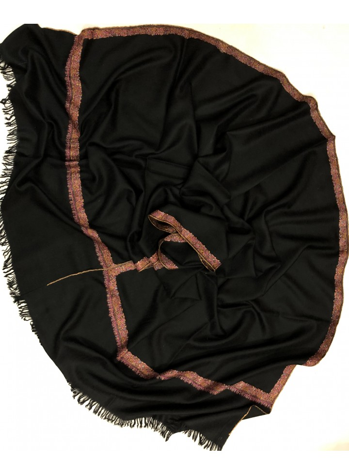 Pashmina Pirate Black Border Embroidery Stole