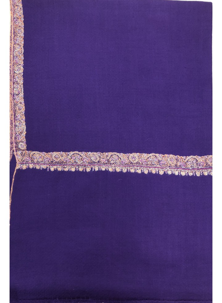 Pashmina Tillandsia Purple Border Embroidery Stole