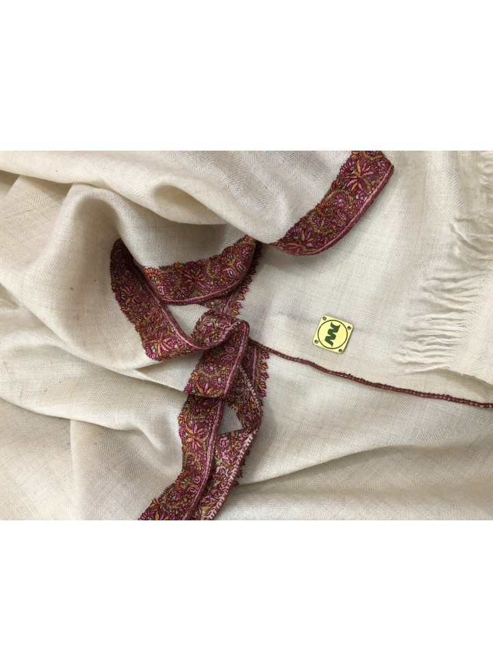 Pashmina Turtledove Border Embroidery Stole