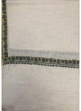 Pashmina Whisper White Border Embroidery Stole