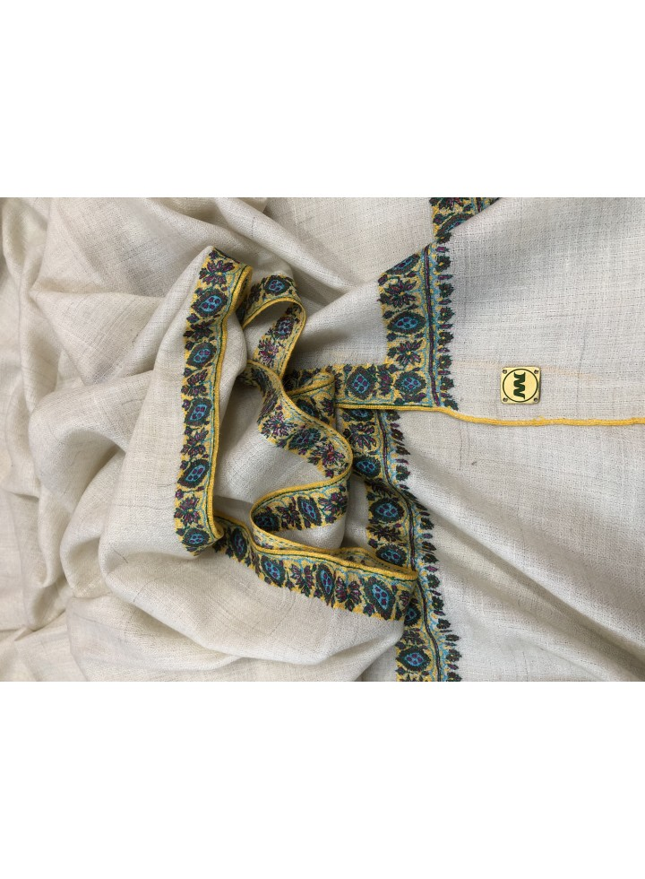 Pashmina Whisper White Border Embroidery Stole