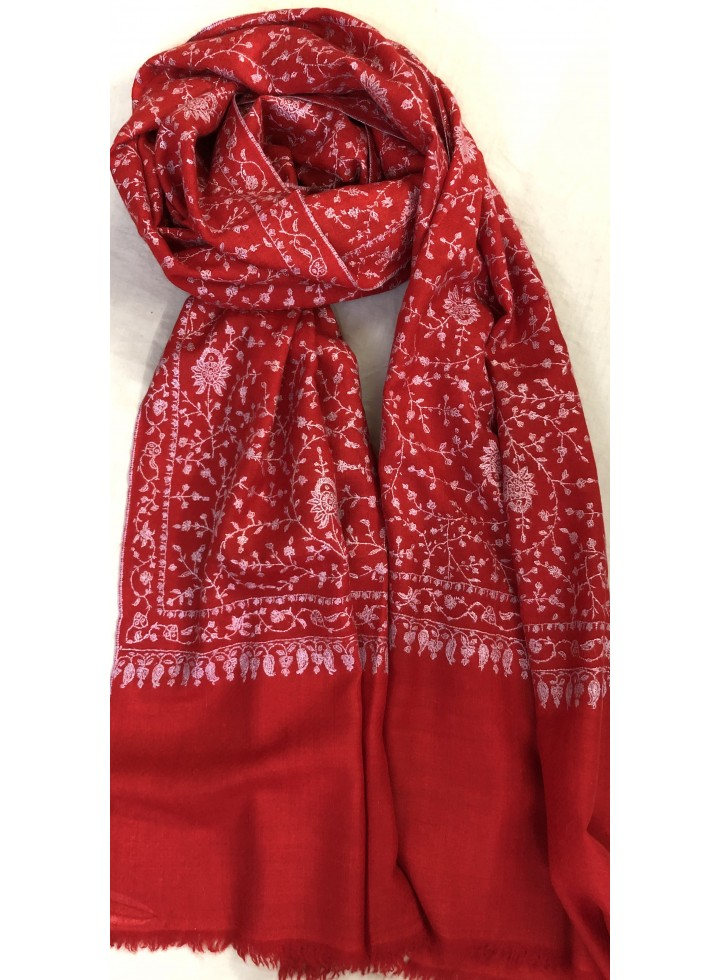 Pashmina High Risk Red Dense Jaal Embroidery Stole