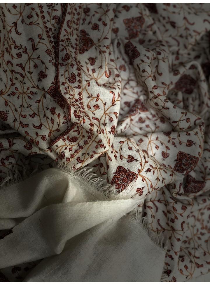Pashmina Marshmallow Neem Jama Embroidery Stole