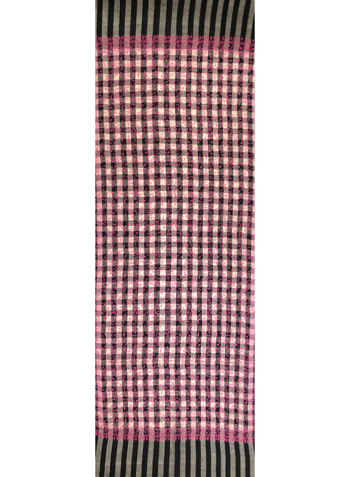 Luxurious Check Jaal Embroidered Cashmere Pashmina Stole