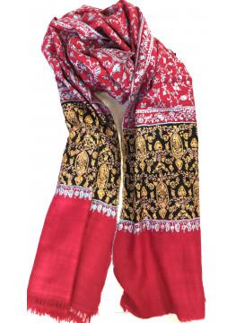 Luxury Crimson Jaal Sozni Embroidered Cashmere Pashmina Stole