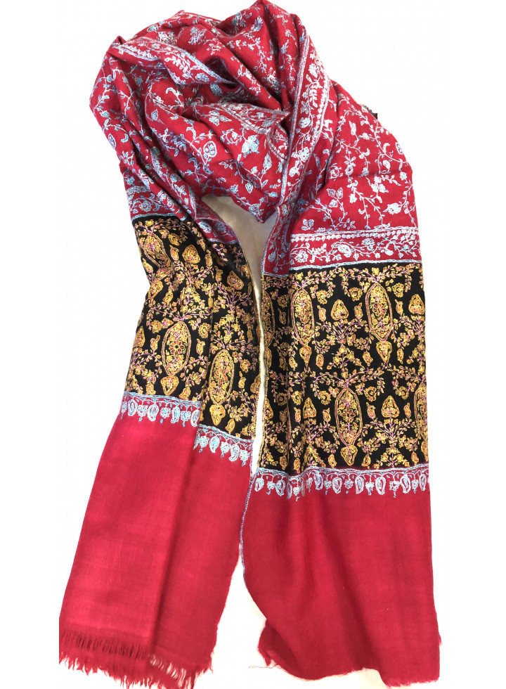 Luxury Crimson Jaal Sozni Embroidered Cashmere Pashmina Stole