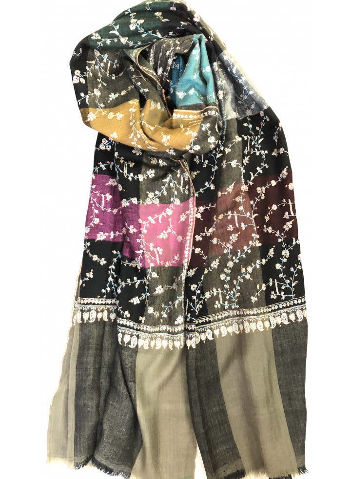 Elegant Shades Sozni Embroidered Cashmere Pashmina stole