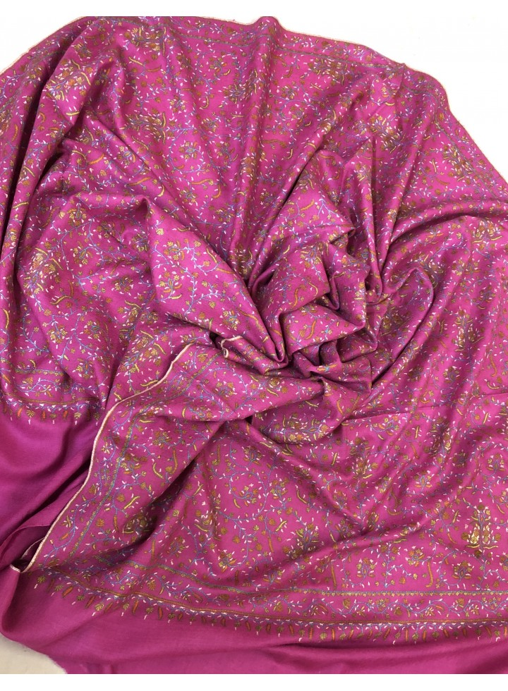 Pashmina Purple Orchid Elegant Jaal Embroidery Stole
