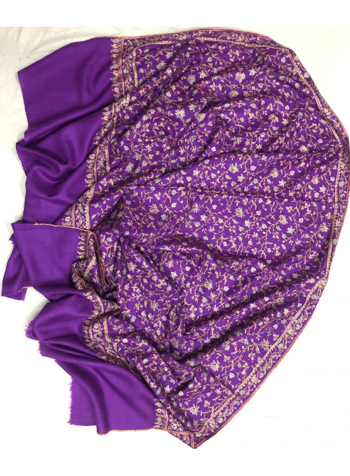 Pashmina Sparkling Grape Lavish Jaal Embroidery Stole