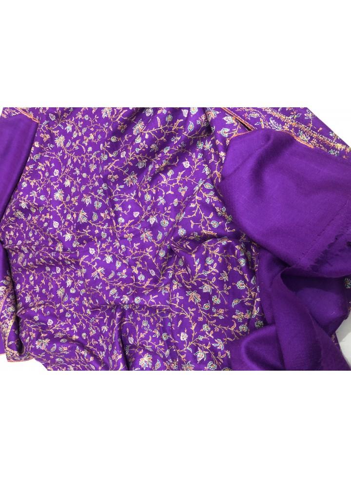 Pashmina Sparkling Grape Lavish Jaal Embroidery Stole