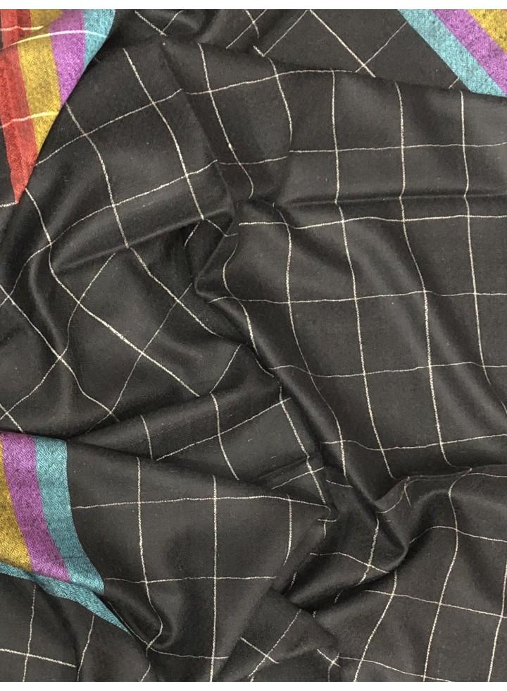 Pashmina Black Window Pane Check Multi-Color Stole