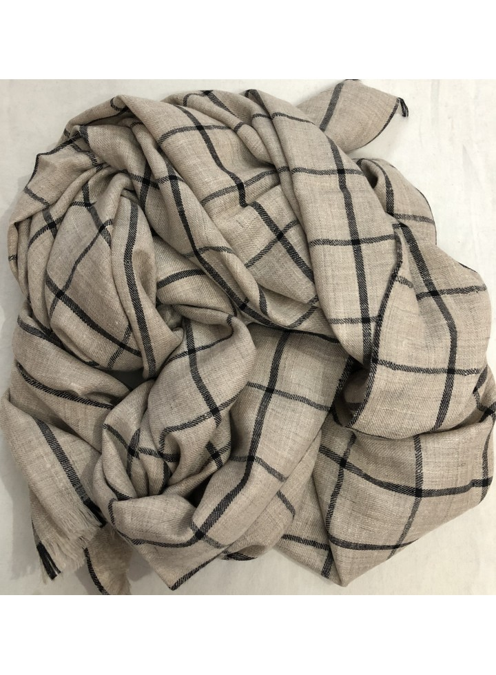 Pashmina Natural Graph Check Stole