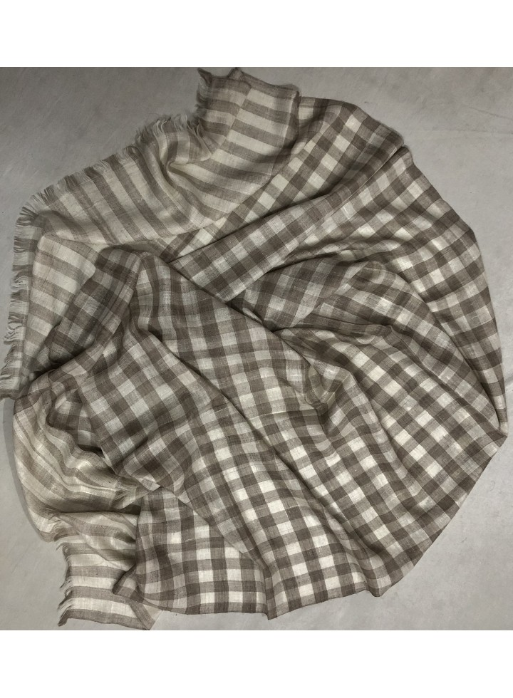 Pashmina Natural Gingham Stole